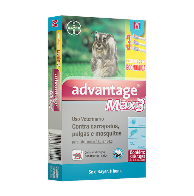 Antipulgas e Carrapatos Bayer Combo Advantage Max 3 - 1,0ml para Cães de 4 a 10Kg