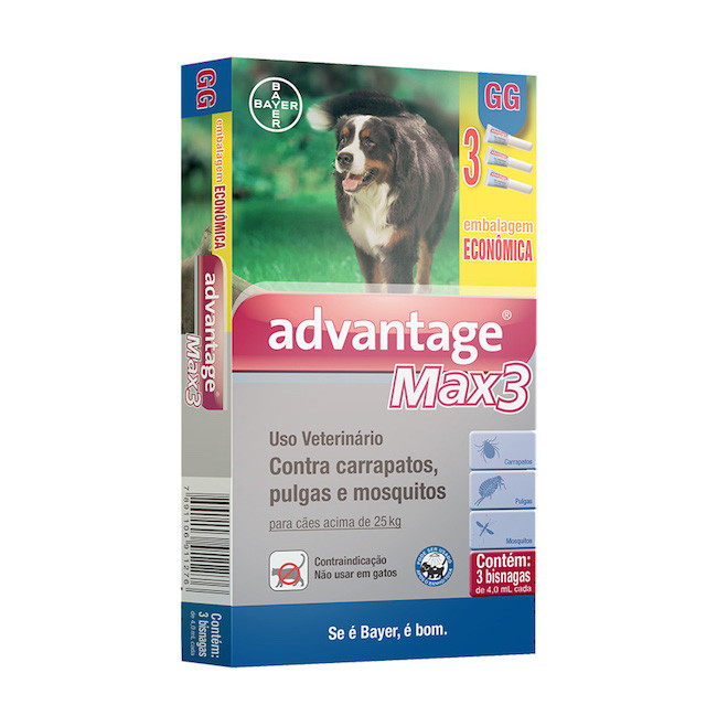 Antipulgas e Carrapatos Bayer Combo Advantage Max 3 - 4,0ml para Cães de 25 a 40Kg