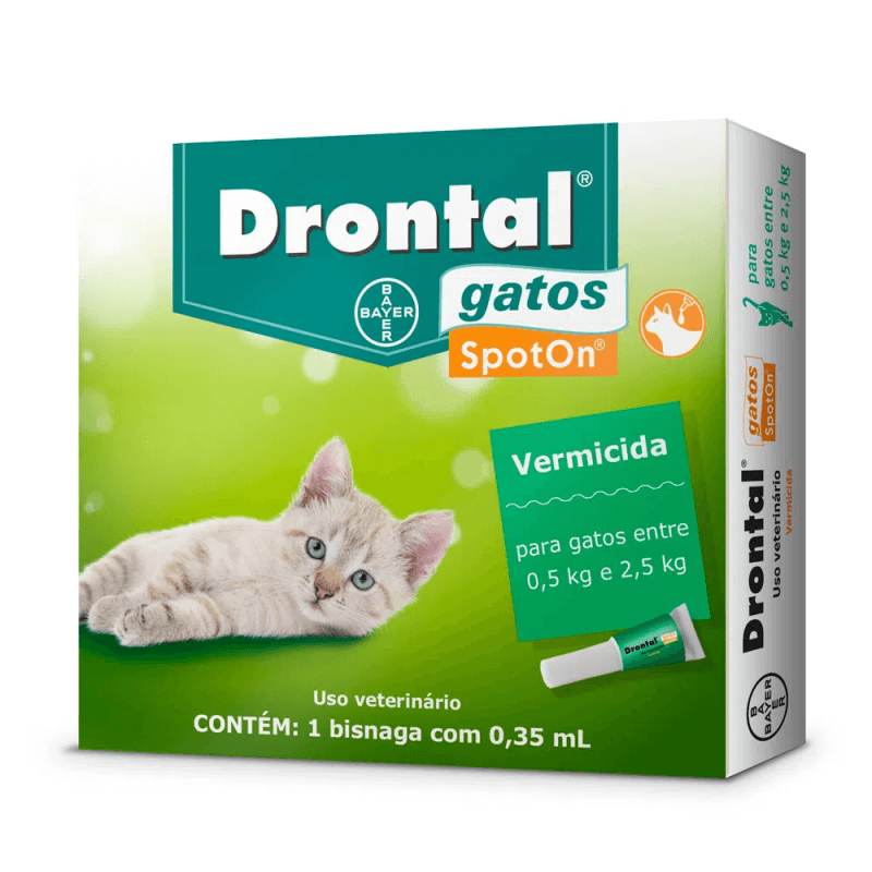 Vermífugo Bayer Drontal Spot On Gatos 0,5 a 2,5 kg