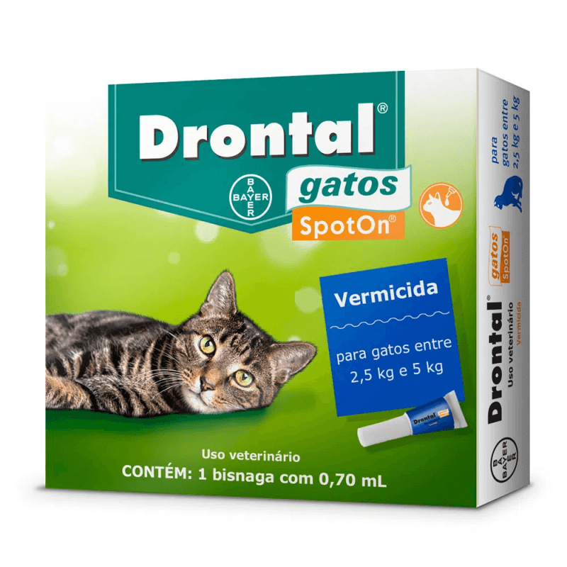 Vermífugo Bayer Drontal Spot On Gatos 2,5 a 5 kg