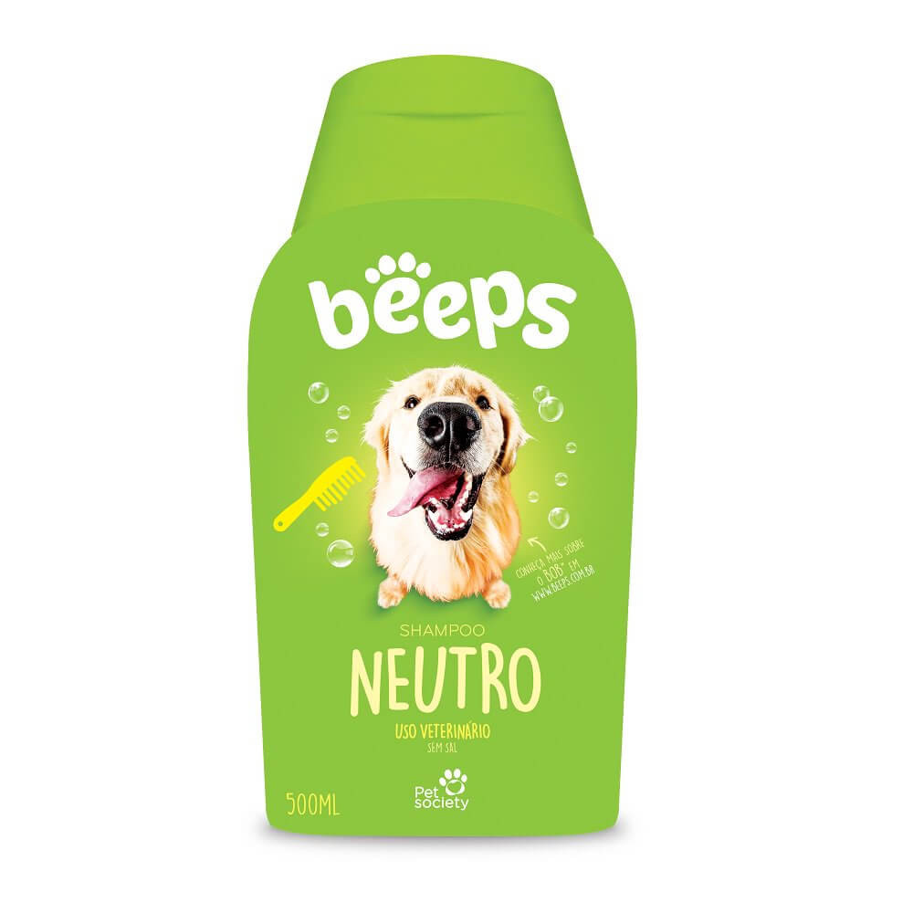 Shampoo Beeps Neutro Cães e Gatos Pet Society 500ml